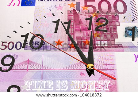 Clock on euro banknote background