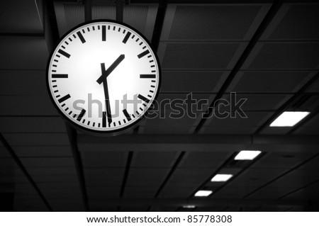 Clock on railroad station in Bangkok, Thailand
