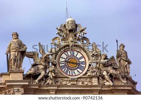 Clock on St Peters, Vatican City, Italy - Rome