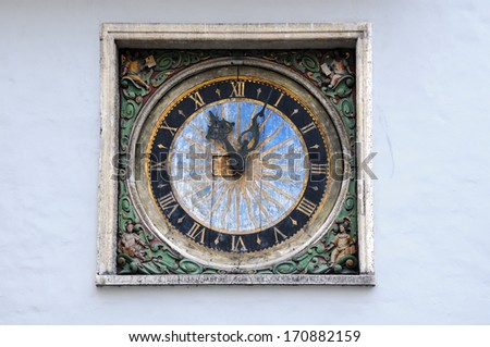 Clock on the Church of the Holy Ghost, or Church of the Holy Spirit, in Tallinn in Estonia made by Christian Ackermann