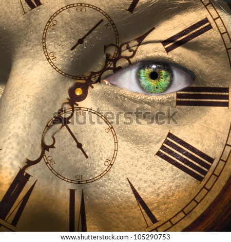 Clock painted on male face to portray aging or bio clock concept