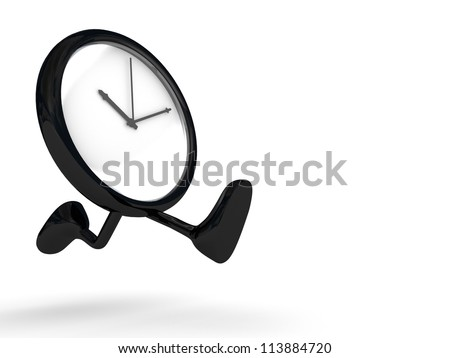 clock running, legs and feet.