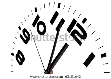 Clock showing three to twelve against a white background.