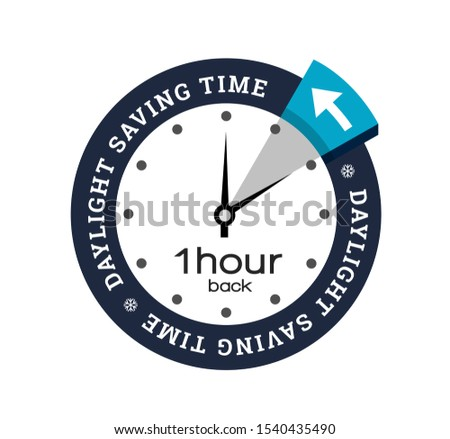 Clock switch to winter time, illustration on white