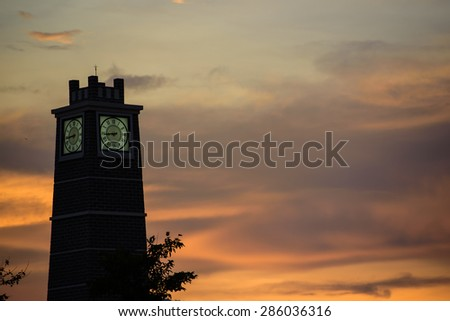 Clock tower after sunset on twilight time