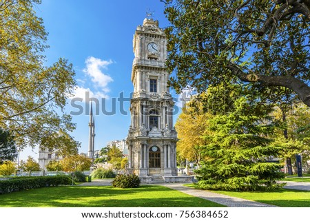 Clock Tower at Dolmabahce square in Istanbul