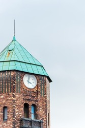 Clock tower in historical building in the coal mine 'Wieczorek' in Katowice, Silesia, Poland.
