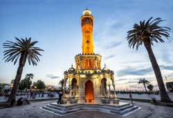 Clock Tower Izmir. Konak Square street view with old clock tower. It was built in 1901 and accepted as the official symbol of Izmir City, Turkey
