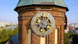 Clock tower. Kaliningrad Cathedral on the island of Kant. Russia, Kaliningrad, From Drone