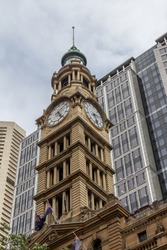 Clock Tower of heritage and modern buildings in Martin Place street, Sydney, Australia