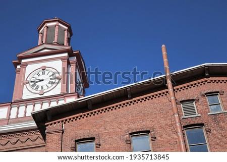 Clock Tower of Historic Assabet Wool Building; Maynard, Massachusetts Zdjęcia stock ©