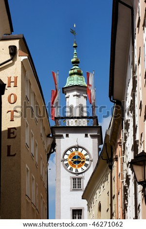 Clock tower of Old Town Hall in Salzburg