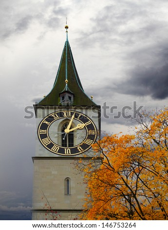 Clock tower of St. Peter\'s Church, Zurich, Switzerland.The steeple\'s clock face has a diameter of 8.7 m, the largest church clock face in Europe.