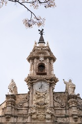 Clock tower of the church of santos juanes in valencia, spain