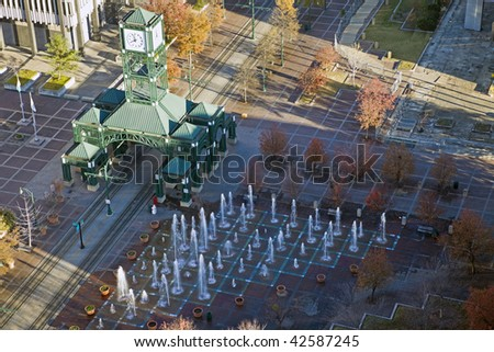 Clock tower square in downtown Memphis, Tennessee, USA - aerial photo.