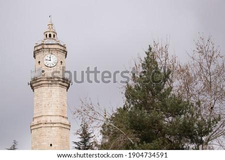 clock tower, tahiri clock tower, old clock tower, clock tower in winter, tokat turkey