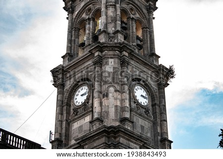 Clock tower, temple of Sanctuary Señor del Hospital, Salamanca Guanajuato Historic Center. Architecture concept. Foto stock ©