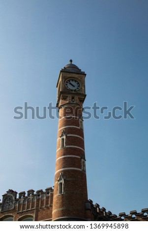 Clock tower that is a landmark and landmark in a city of Portugal, Europe #1369945898