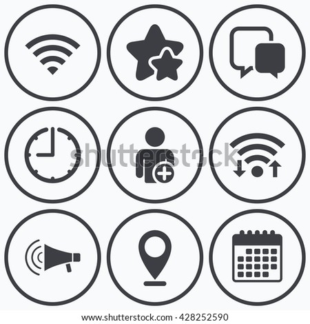 Clock Wifi And Stars Icons Wifi And Chat Bubbles Icons Add User