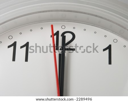 Clock with a minute and hour hands on 12 and a second hand on 59 - deadline symbol