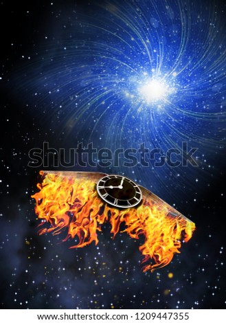 Stock Photo Clock with burning wings flies to bright star. 3D rendering