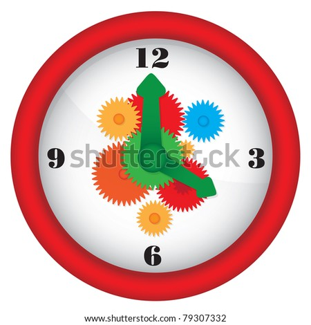 Clock with gears - colorful illustration - raster version of vector ID 78378685