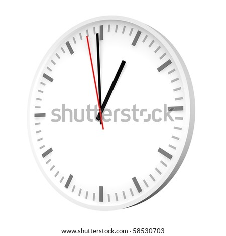 Clock with one red hand. 3d rendered illustration.