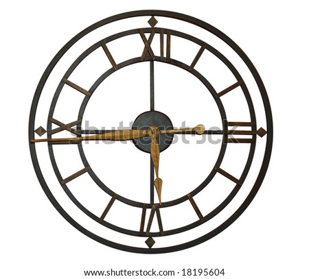 Clock with Roman Numerals isolated with clipping path
