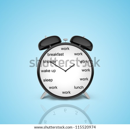 clock with schedule of day on a blue background