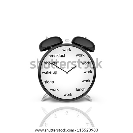 clock with schedule of day on a white background