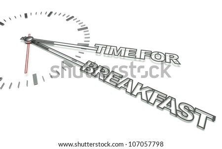 Clock with the words Time for breakfast, concept of eat