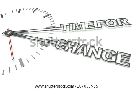 Clock with the words Time for change, concept of innovation