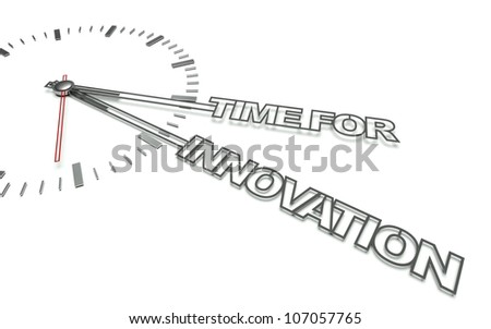 Clock with the words Time for innovation, concept of change