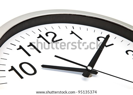 clock with white background and black needles