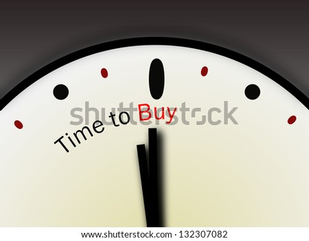 Clock with words Time to Buy on its face symbolizing stock market buying selling activity or real estate market buy indication - stock photo