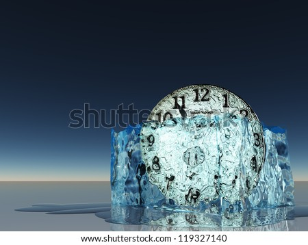 Clock witin melting ice - stock photo