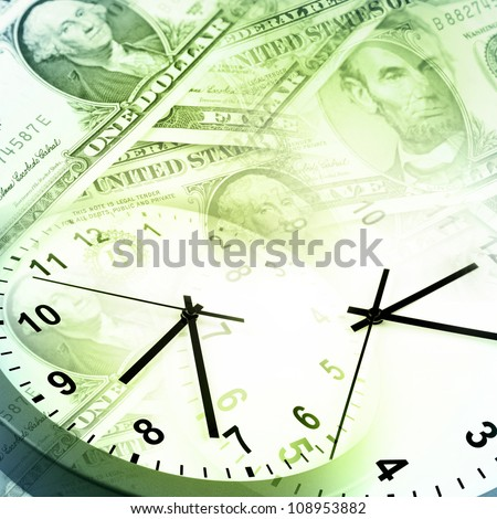 Clocks and banknotes. Time is money concept