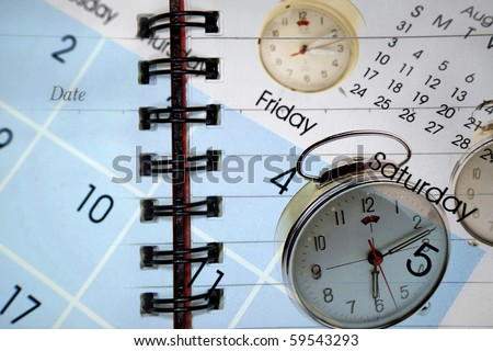 Clocks and calendar on diary