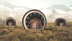 Clocks and houses in steampunk style.
