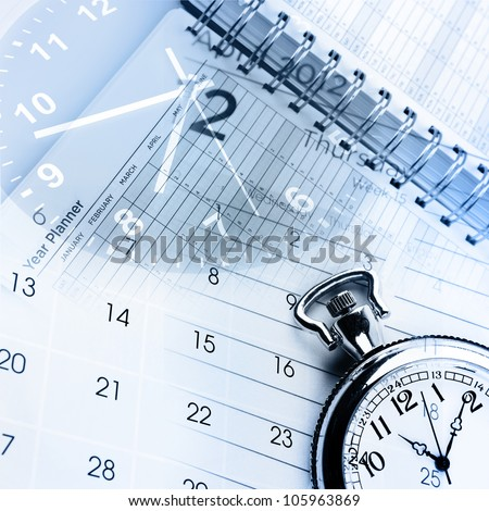 Clocks calendar and diary pages