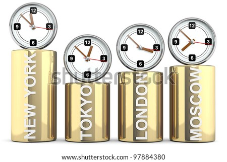 Clocks of important capitals. Stocks concept