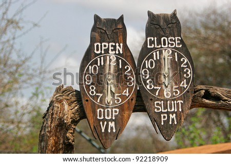 Clocks showing gate entry and closing time in Kruger National Park