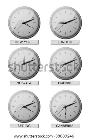 Clocks showing local times all over the world