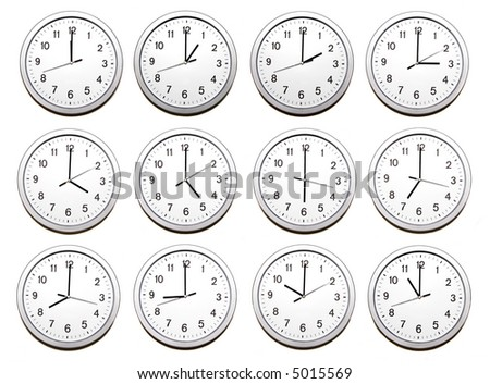 clocks signing all the twelve hours on white background