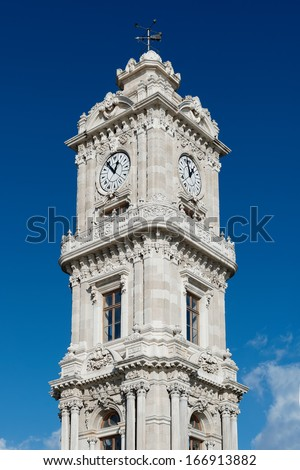 Clocktower of Dolmabahce Palace in Istanbul / Turkey