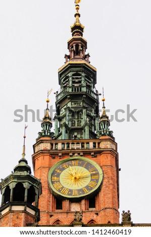 Clocktower of the Muzeum Historyczne Miasta Gdańska in Dluga, Dlugi Targ, Gdansk Zdjęcia stock ©