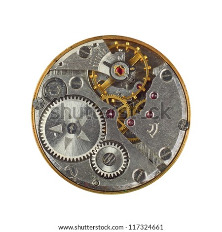 Stock Photo Clockwork details, pinions and wheels macro closeup isolated on white