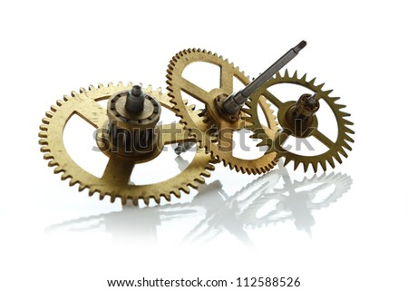 clockwork gears isolated on white background - stock photo