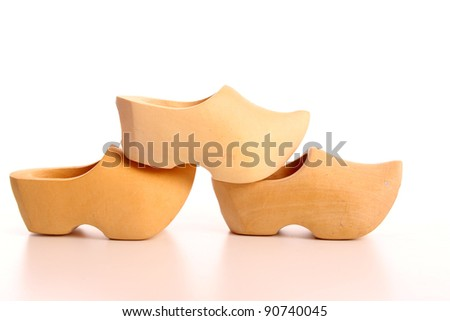 Clog in a studio over a  white background