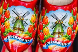 Clogs for sale at a Dutch retail shop. Wooden shoes are a well know traditional souvenir from Holland